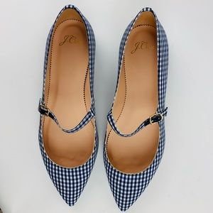 J.CREW Mary Jane Flats Gingham Leather Shoes Navy